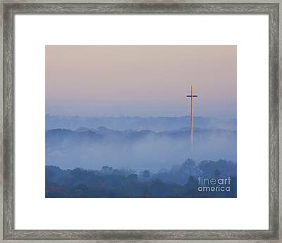 Mission Cross In Fog At Sunrise Framed Print by Jackie Hird