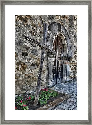 Mission Espada Cross And Door Framed Print by Stephen Stookey