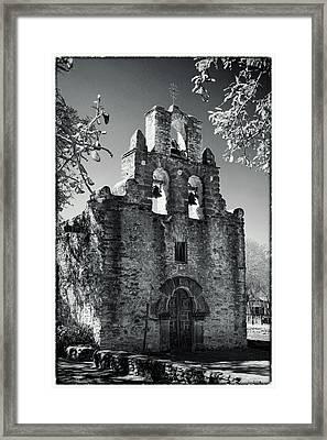 Mission Espada Door - Bw Framed Print by Stephen Stookey