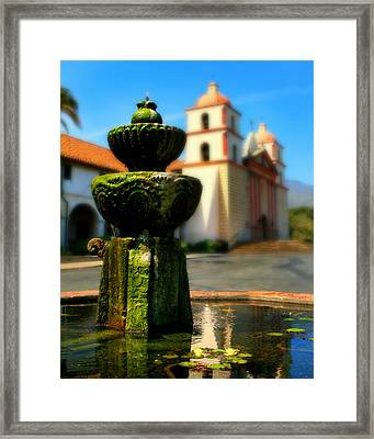 Mission Fountain Framed Print by Perry Webster