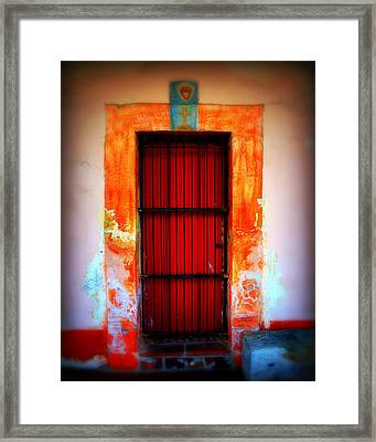 Mission Red Door Framed Print by Perry Webster