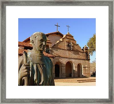Mission San Antonio And Father Serra Framed Print