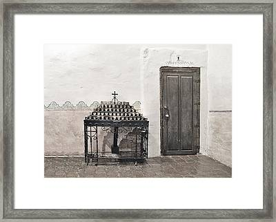 Mission San Diego - Confessional Door Framed Print by Christine Till