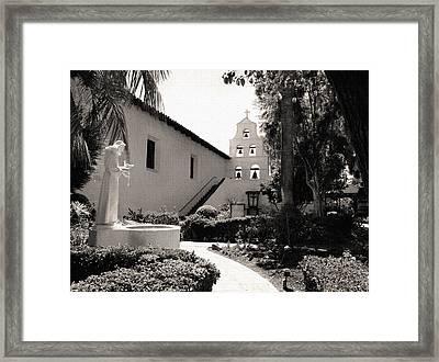 Mission San Diego Monochrome Framed Print by Gordon Beck