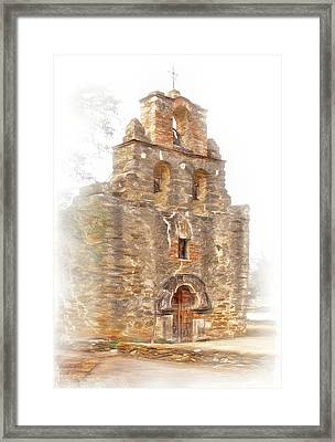 Framed Print featuring the photograph Mission San Francisco De La Espada In Faux Pencil Drawing  by David and Carol Kelly