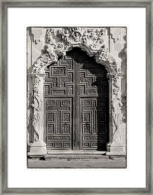 Mission San Jose Door - Bw Framed Print by Stephen Stookey