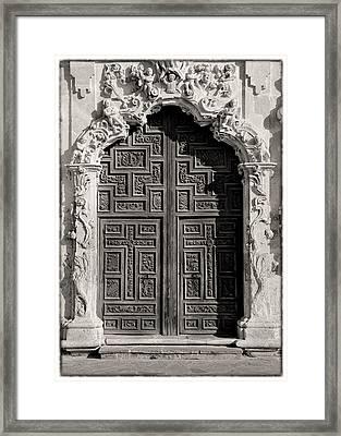 Mission San Jose Door - Bw Framed Print by Stephen Stookey