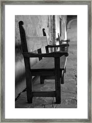 Mission San Juan Capistrano Bench Framed Print