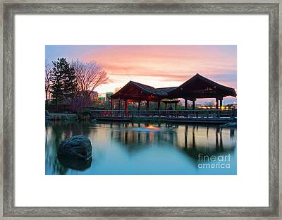 Mississauga Japanese Garden Framed Print by Charline Xia