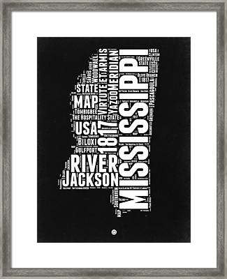 Mississippi Black And White Map Framed Print by Naxart Studio