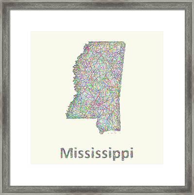 Mississippi Line Art Map Framed Print