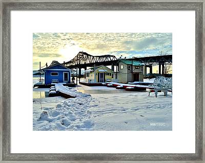Mississippi River Boathouses Framed Print