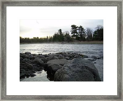 Framed Print featuring the photograph Mississippi River Dawn Over The Rocks by Kent Lorentzen