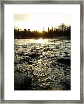 Framed Print featuring the photograph Mississippi River Dawn Reflection by Kent Lorentzen