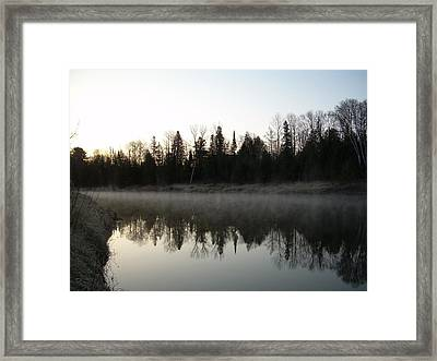 Framed Print featuring the photograph Mississippi River Fog Reflection by Kent Lorentzen