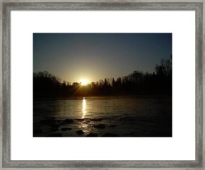Framed Print featuring the photograph Mississippi River Golden Sunrise by Kent Lorentzen