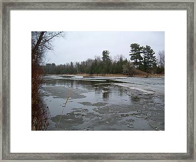 Framed Print featuring the photograph Mississippi River Ice Flow by Kent Lorentzen