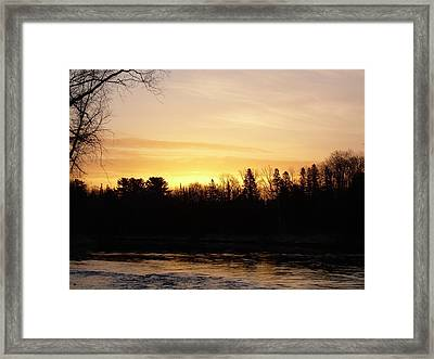 Framed Print featuring the photograph Mississippi River Orange Sky by Kent Lorentzen