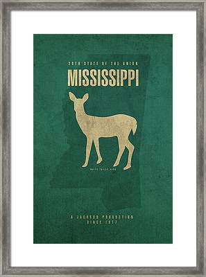 Mississippi State Facts Minimalist Movie Poster Art Framed Print