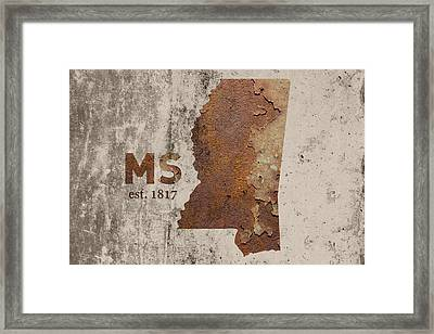 Mississippi State Map Industrial Rusted Metal On Cement Wall With Founding Date Series 012 Framed Print by Design Turnpike