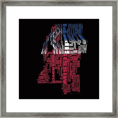 Mississippi Typographic Map 4a Framed Print