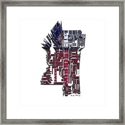 Mississippi Typographic Map 4b Framed Print