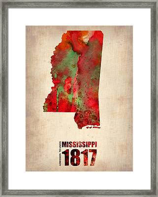 Mississippi Watercolor Map Framed Print