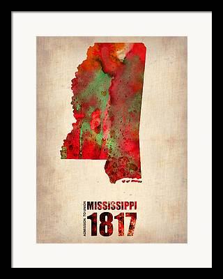 Mississippi State Map Framed Prints