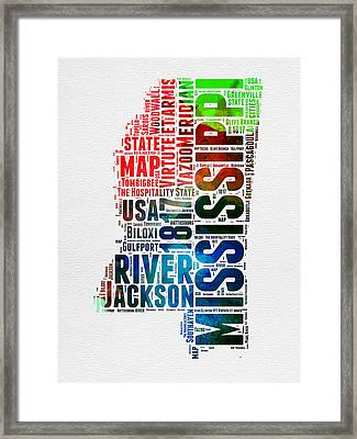 Mississippi Watercolor Word Cloud  Framed Print