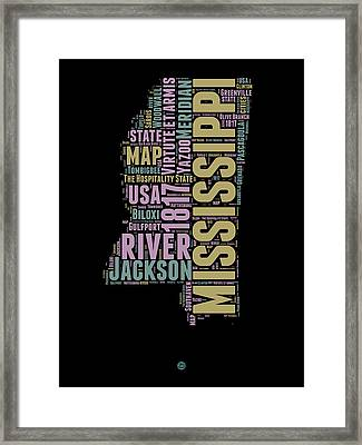 Mississippi Word Cloud 1 Framed Print by Naxart Studio