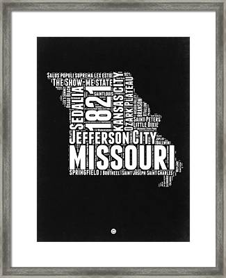 Missouri Black And White Word Cloud Map Framed Print by Naxart Studio