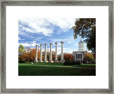 Missouri Columns And Jesse Hall Framed Print by University of Missouri