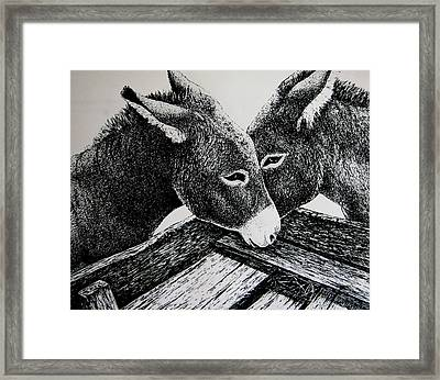 Missouri Mules Framed Print by Lonnie Tapia