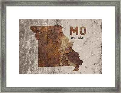 Missouri State Map Industrial Rusted Metal On Cement Wall With Founding Date Series 033 Framed Print by Design Turnpike