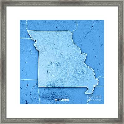 Missouri State Usa 3d Render Topographic Map Blue Border Framed Print