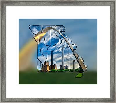 Missouri Typography Blur Artwork - The Saint Louis Arch And City Skyline Framed Print