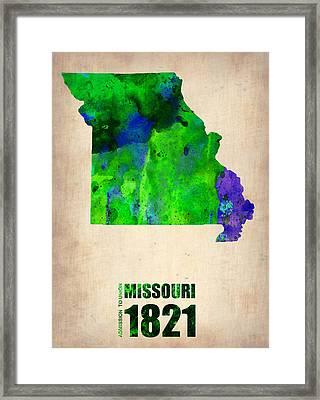 Missouri Watercolor Map Framed Print by Naxart Studio