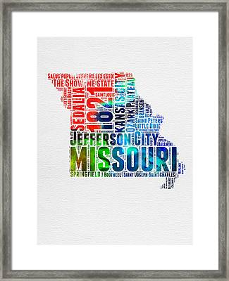 Missouri Watercolor Word Cloud Map  Framed Print by Naxart Studio