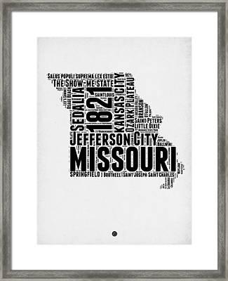 Missouri Word Cloud Map 2 Framed Print by Naxart Studio