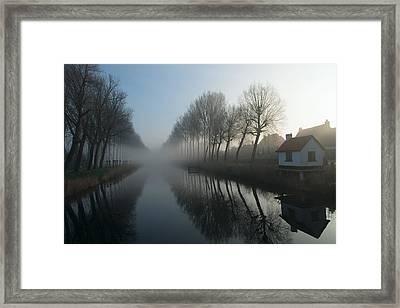 Mist Across The Canal Framed Print by Elisabeth Wehrmann