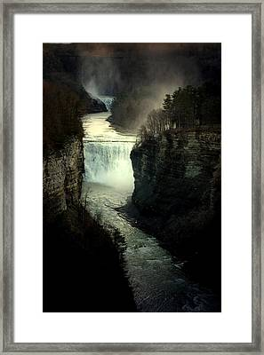 Mist And The Falls Framed Print