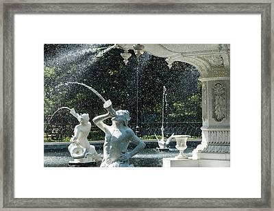 Mist At Forsyth Fountain Framed Print