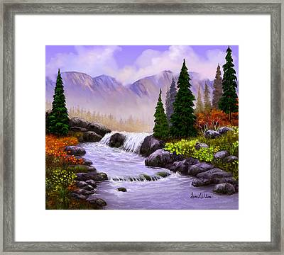 Framed Print featuring the painting Mist In The Mountains by Sena Wilson