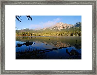 Mist On Pyramid Mountain Framed Print