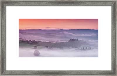 Mist Over Belvedere - Panaroma Framed Print by Michael Blanchette