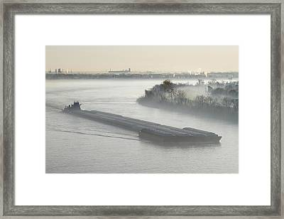 Mist Shrouded River And Tugboat Framed Print by Jeremy Woodhouse