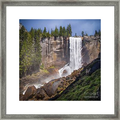 Mist Trail And Vernal Falls Framed Print