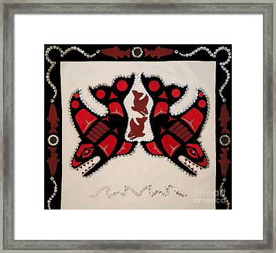 Framed Print featuring the tapestry - textile Mistamekwakii  - Whales - Northern Cree by Chholing Taha