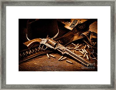 Mister Durant's Revolver - Sepia Framed Print by Olivier Le Queinec