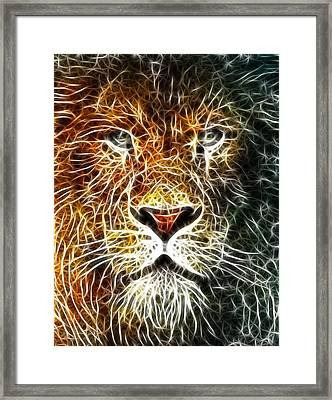 Framed Print featuring the mixed media Mistical Lion by Paul Van Scott
